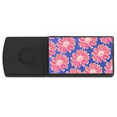 Pink Daisy Pattern Usb Flash Drive Rectangular (4 Gb)  by DanaeStudio
