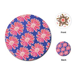 Pink Daisy Pattern Playing Cards (round)  by DanaeStudio