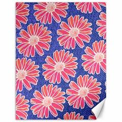Pink Daisy Pattern Canvas 12  X 16   by DanaeStudio