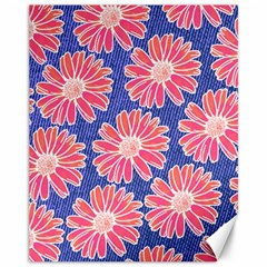 Pink Daisy Pattern Canvas 11  X 14   by DanaeStudio