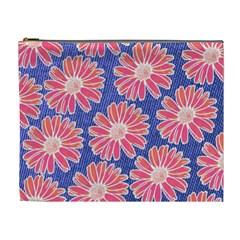 Pink Daisy Pattern Cosmetic Bag (xl)