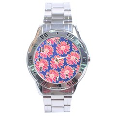 Pink Daisy Pattern Stainless Steel Analogue Watch by DanaeStudio