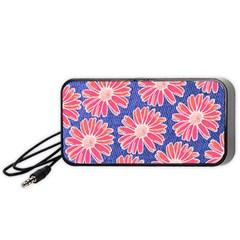 Pink Daisy Pattern Portable Speaker (black)  by DanaeStudio