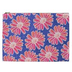 Pink Daisy Pattern Cosmetic Bag (xxl)  by DanaeStudio