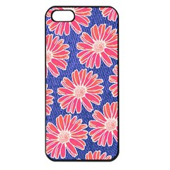 Pink Daisy Pattern Apple Iphone 5 Seamless Case (black) by DanaeStudio