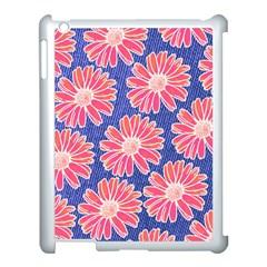 Pink Daisy Pattern Apple Ipad 3/4 Case (white) by DanaeStudio