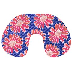 Pink Daisy Pattern Travel Neck Pillows by DanaeStudio