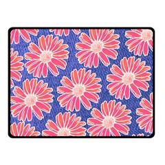 Pink Daisy Pattern Double Sided Fleece Blanket (small)  by DanaeStudio