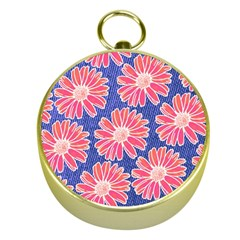 Pink Daisy Pattern Gold Compasses by DanaeStudio