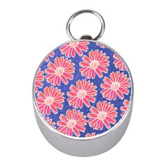 Pink Daisy Pattern Mini Silver Compasses by DanaeStudio