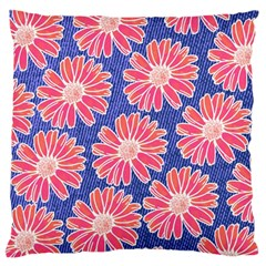 Pink Daisy Pattern Large Flano Cushion Case (two Sides) by DanaeStudio