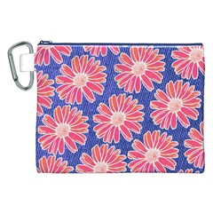 Pink Daisy Pattern Canvas Cosmetic Bag (xxl) by DanaeStudio