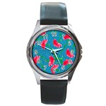 Carnations Round Metal Watch