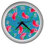 Carnations Wall Clocks (Silver)