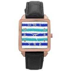 Metallic Blue Glitter Stripes Rose Gold Leather Watch