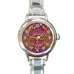 Abstract Shimmering Multicolor Swirly Round Italian Charm Watch by designworld65