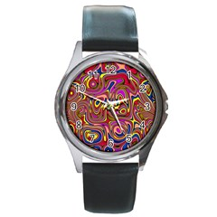 Abstract Shimmering Multicolor Swirly Round Metal Watch by designworld65