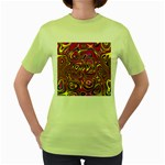 Abstract Shimmering Multicolor Swirly Women s Green T-Shirt