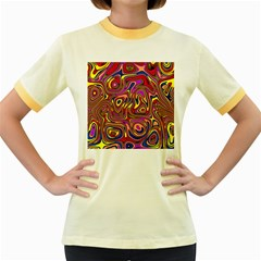 Abstract Shimmering Multicolor Swirly Women s Fitted Ringer T Shirts by designworld65
