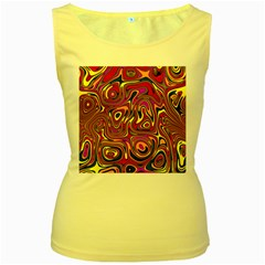 Abstract Shimmering Multicolor Swirly Women s Yellow Tank Top by designworld65