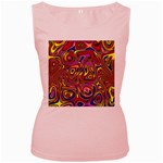 Abstract Shimmering Multicolor Swirly Women s Pink Tank Top