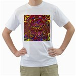 Abstract Shimmering Multicolor Swirly Men s T-Shirt (White) (Two Sided)