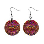 Abstract Shimmering Multicolor Swirly Mini Button Earrings