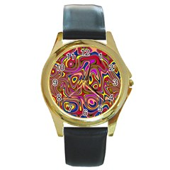 Abstract Shimmering Multicolor Swirly Round Gold Metal Watch by designworld65