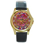Abstract Shimmering Multicolor Swirly Round Gold Metal Watch