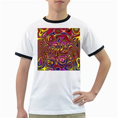 Abstract Shimmering Multicolor Swirly Ringer T Shirts by designworld65