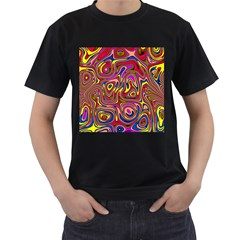 Abstract Shimmering Multicolor Swirly Men s T Shirt (black) (two Sided) by designworld65