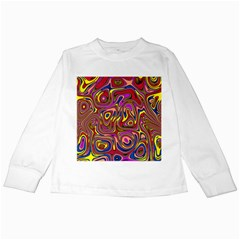 Abstract Shimmering Multicolor Swirly Kids Long Sleeve T Shirts by designworld65