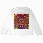 Abstract Shimmering Multicolor Swirly Kids Long Sleeve T-Shirts