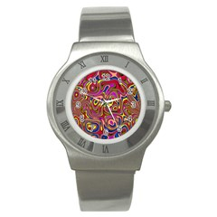 Abstract Shimmering Multicolor Swirly Stainless Steel Watch by designworld65