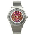 Abstract Shimmering Multicolor Swirly Stainless Steel Watch