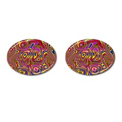 Abstract Shimmering Multicolor Swirly Cufflinks (oval) by designworld65