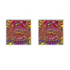 Abstract Shimmering Multicolor Swirly Cufflinks (square) by designworld65
