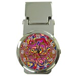 Abstract Shimmering Multicolor Swirly Money Clip Watches