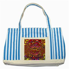Abstract Shimmering Multicolor Swirly Striped Blue Tote Bag by designworld65