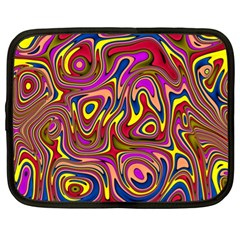 Abstract Shimmering Multicolor Swirly Netbook Case (xl)  by designworld65
