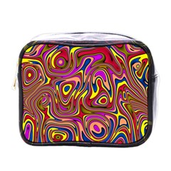 Abstract Shimmering Multicolor Swirly Mini Toiletries Bags by designworld65