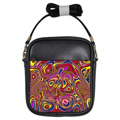 Abstract Shimmering Multicolor Swirly Girls Sling Bags by designworld65