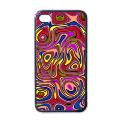 Abstract Shimmering Multicolor Swirly Apple Iphone 4 Case (black) by designworld65