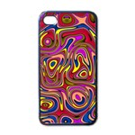 Abstract Shimmering Multicolor Swirly Apple iPhone 4 Case (Black)
