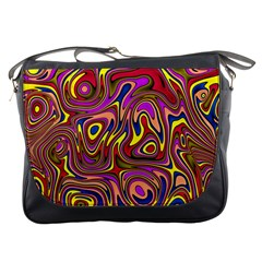 Abstract Shimmering Multicolor Swirly Messenger Bags by designworld65