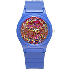 Abstract Shimmering Multicolor Swirly Round Plastic Sport Watch (s) by designworld65
