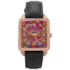 Abstract Shimmering Multicolor Swirly Rose Gold Leather Watch  by designworld65