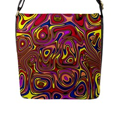 Abstract Shimmering Multicolor Swirly Flap Messenger Bag (l)  by designworld65