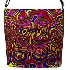 Abstract Shimmering Multicolor Swirly Flap Messenger Bag (s) by designworld65