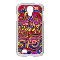 Abstract Shimmering Multicolor Swirly Samsung Galaxy S4 I9500/ I9505 Case (white) by designworld65